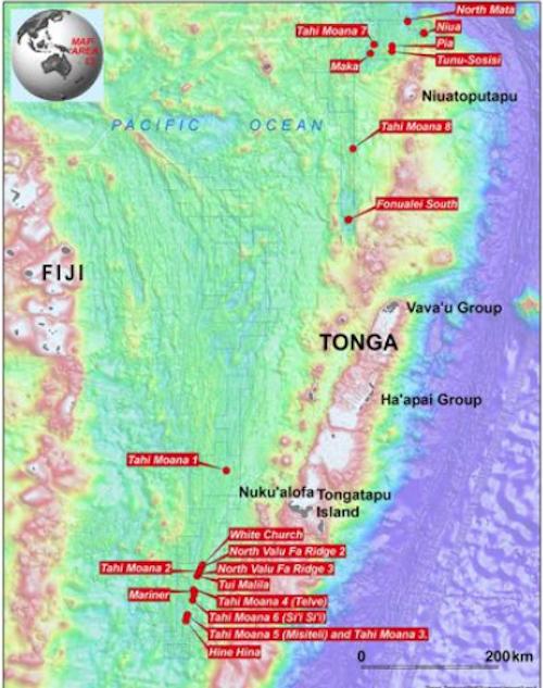 Nautilus's prospective DSM sites in Tonga's EEZ