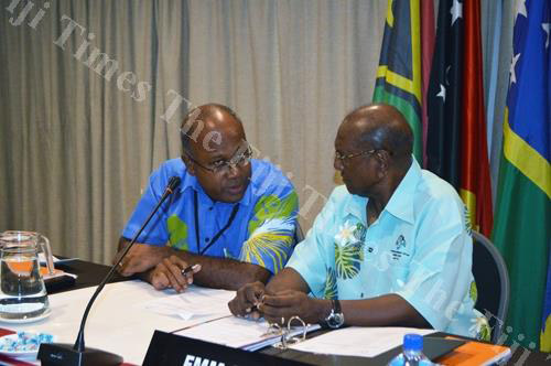 Melanesian Spearhead Group director general Amena Yauvoli, left, with foreign affairs ministers meeting chair Milner Tozaka in Lautoka. Picture: REINAL CHAND