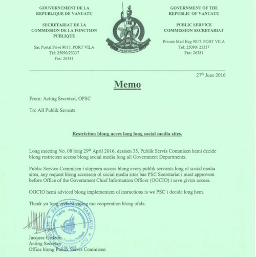 The Vanuatu Public Service Commission letter banning social media for government workers. Image: Vanuatu Daily Digest
