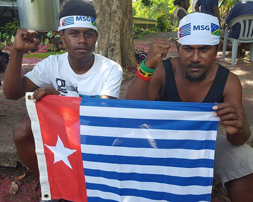 Solomon Islanders in Honiara protesting for West Papuan membership of the Melanesian Spearhead Group. Image: Free West Papua Campaign FB