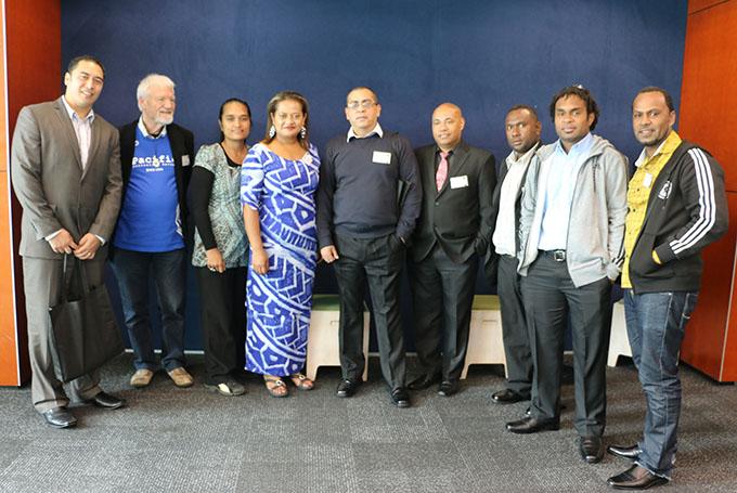 Leaupepe Taala Ralph Elika (PCF - from left), Professor David Robie (PMC), Irene Manarae (USP), Victoria Lepou (NUS), Shailendra Singh (USP), Alexander Rheeny (Post-courier), Eddie Osifelo (Solomon Star), Eliki Drugunalevu (USP), Dave Mandavah (VIT). Image: Del Abcede