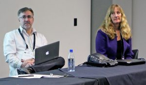 (From left): Professor Harry Dugmore and Dr. Walsh-Childers on the 'teaching hospital' panel debate. Image: TJ Aumua/PMC