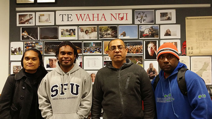 Visitors to AUT's Te Waha Nui: Irene Manueli (from left), editor-in-chief of Wansolwara, Radio Pasifik's Eliki Drugunalevu, and University of the South Pacific head of journalism Dr Shailendra Singh; and Eddie Osifelo of the Solomon Star. Image: David Robie/PMC