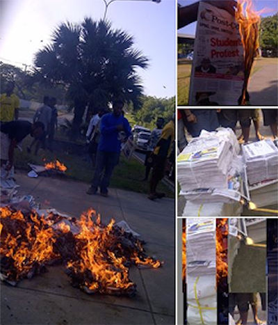The burning of newspapers at the University of Papua New Guinea. Newspapers were also set on fire at Unitech. Image: Asia Pacific Report