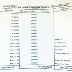 The report obtained by the Solomon Star earlier this week showing the delegations travel costs. Image: Solomon Star