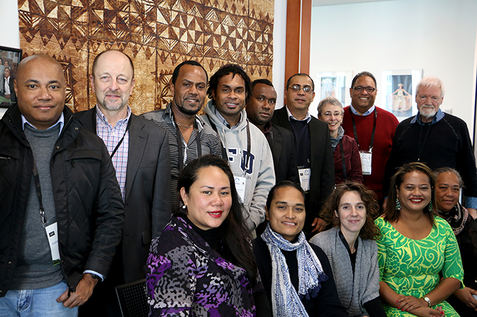 "Pacific journalism education ""fono"" participants at the WJEC. Image: Del Abcede/PMC"