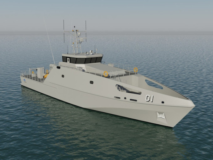 A computer rendering of Vanuatu's new patrol boat. Image: Austal