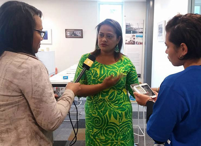 Misa Vicky Lepou being interviewed after the Pacific journalism education fono. Image: Eliki Drugunalevu