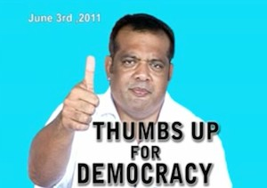 """Thumbs up for democracy"" in Fiji campaign image of Ratu Tevita Mara who defected from the coup leaders in 2011. Image: Pacific Scoop"