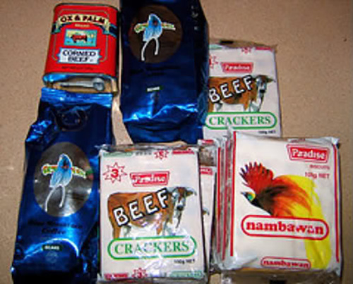 Ox & Palm corned beef and other PNG foodstuffs ... Beef cracker Biscuits and Nambawan Biscuits. Image: PNG Business and Tourism