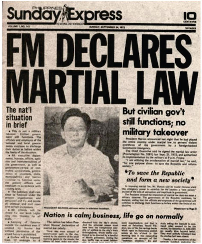 News of the declaration of Martial Law in the Philippines on 21 September 2016. Image: Philippine Sunday Express