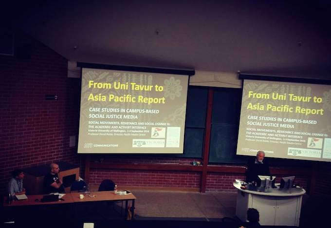 "Pacific Media Centre's Professor David Robie speaking independent media and ""new voices"" from the Pacific at the Counterfutures conference. Image: PMC"