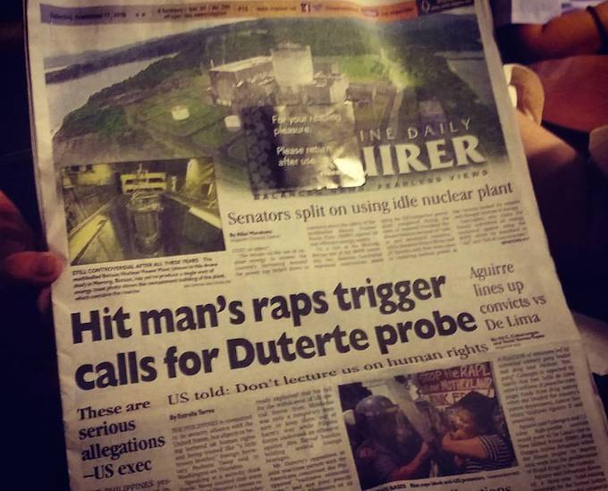 "The presidential ""hit man"" allegations in the Philippines national press. Image: David Robie/PMC"