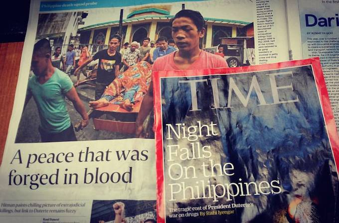 Time magazine and Singapore Sunday Times reports on Philippines 'killing fields'. Image: David Robie/PMC