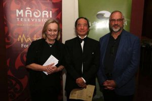 Co-producer Christina Milligan (left) with Peace Foundation board member Tom Ang and other co-producer Roger Grant (far right). Film director Kim Webby is currently in Vanuatu opening the documentary at another film festival. Image: Nga Aho Whakaari
