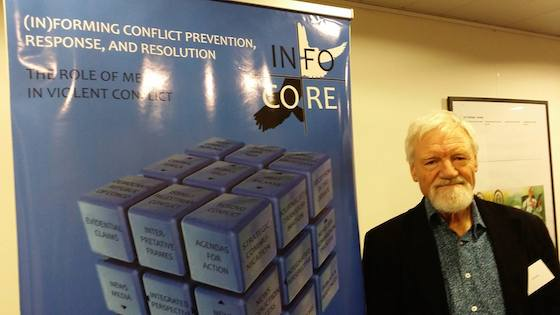 Pacific Media Centre's Professor David Robie at the stakeholders' network meeting at the Brussels Press Club. Image: INFOCORE