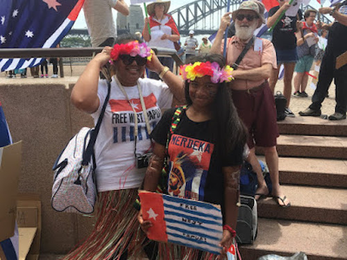 A solidarity for West Papua rally at the Sydney Opera House at the weekend. Image: Australia West Papua Association (AWPA)