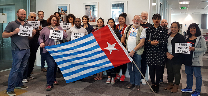 "Supporters of a ""Free West Papua"" at the flag-raising ceremony today. Image: Luqman Hayes/AUT"