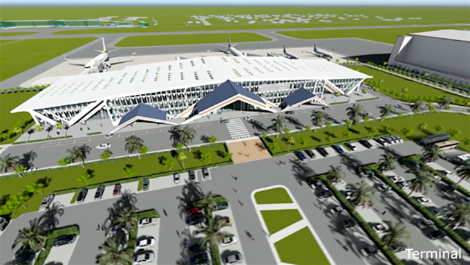 An architectural rendering of the proposed new terminal building for Bauerfield International Airport.
