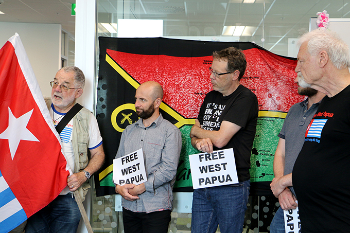 Supporters of West Papuan self-determination at the flag-raising ceremony today. Image: Del Abcede/PMC