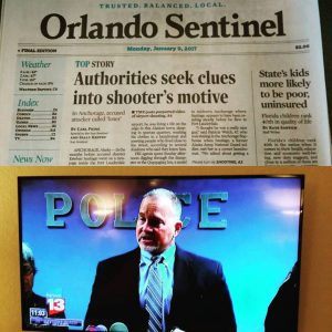 Orlando Sentinel reporting on the massacre aftermath; FBI special agent Marlin Ritzman speaking at a media conference. Image: David Robie