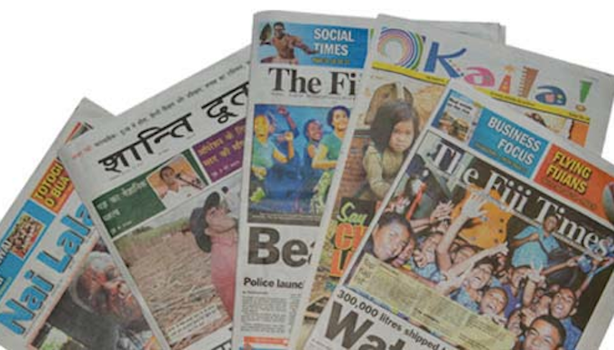 The Fiji Times group titles … Nai Lalakai on the left and The Fiji Times in the centre and on the right. Image: Motibhai