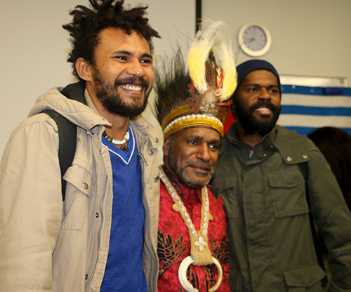Benny Wenda with wantok students at the Auckland University of Technology this week. Image: Del Abcede/PMC