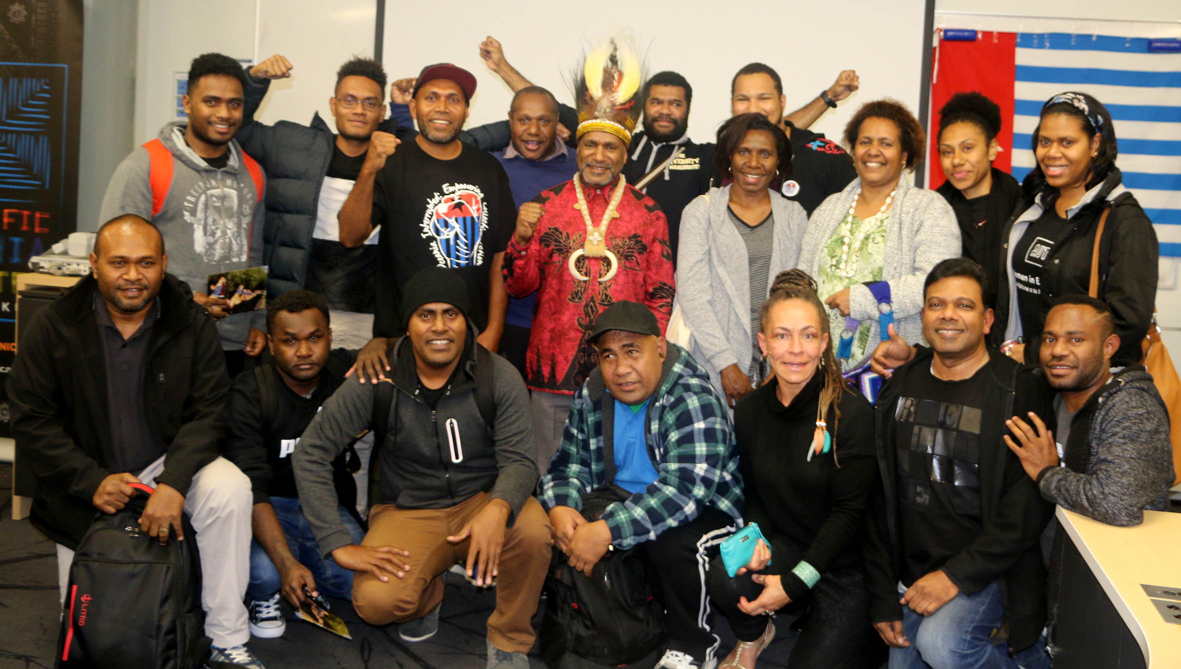 "Benny Wendy with wantok students…representing a ""united"" Pacific for West Papua. Image: Del Abcede/PMC"