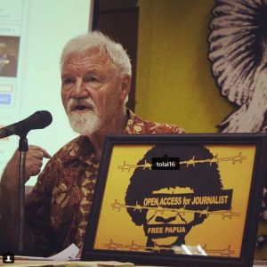 Professor David Robie speaking at the Free Media in West Papua seminar in Jakarta, Indonesia, last month. Image: Alves Fonataba/PMC