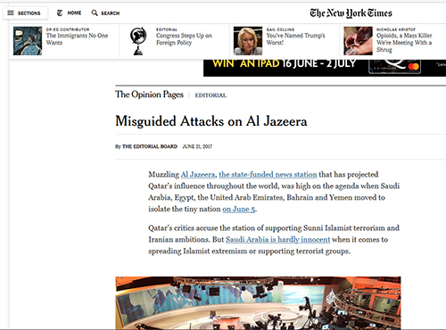 "New York Times on the Qatari crisis … Saudi Arabia ""hardly innocent when it comes to spreading Islamist extremism"". Image: PMC"