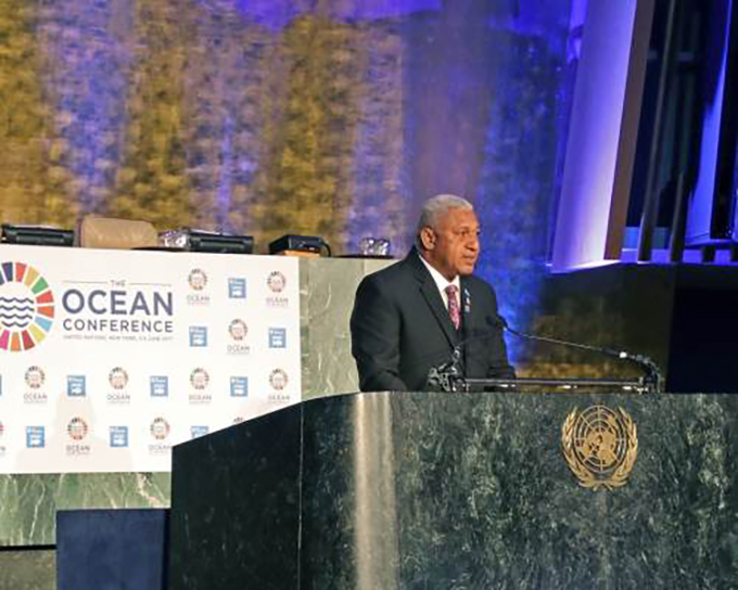 "Fiji's Prime Minister Voreqe Bainimarama closing UN Oceans Conference… ""Paris Agreement not enough to save us"". Image: The Ocean Conference"