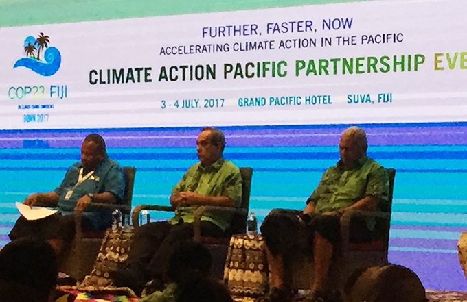 Fiji Climate Champion Inia Seruiratu (from left), President of Federated States of Micronesia Peter M. Christian and Fiji Prime Minister Bainimarama at the CAPP talks in Suva. Image: TAI