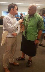 TAI's Rod Campbell talks to Fiji Prime Minister Voreqe Bainimarama in Suva. Image: TAI