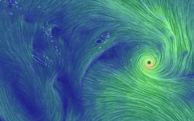 Tropical Cyclone Gita bearing down on Tonga. Image