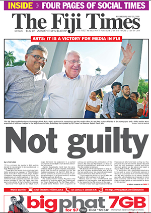 Today's Fiji Times front page.