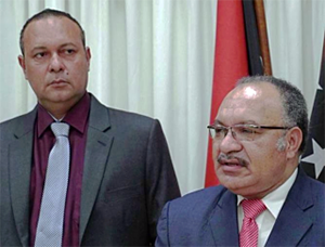 Communications Minister Sam Basil with Prime Minister Peter O'Neill – worried about the wellbeing of PNG or just politicians feelings being hurt? Image: PNG Attitude