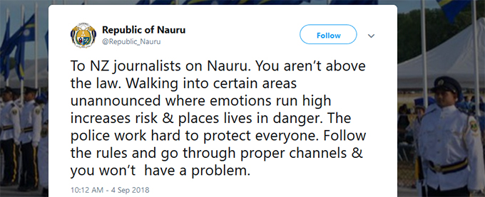 "The Nauru government's 'you aren't above the law"" media warning via Twitter. Image: PMC"