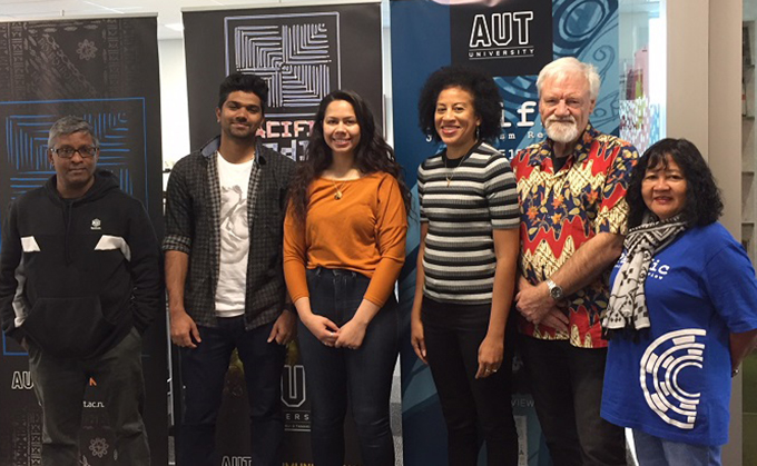 Some of the Pacific Media Centre team: Sri Krishnamurthi (from left), Blessen Tom, Leilani Sitagata, Associate Professor Camille Nakhid, Professor David Robie and Del Abcede. Image: Craig Major/AUT