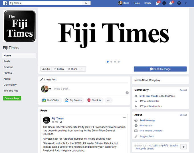 Report fake page to Facebook plea from Fiji Times editor