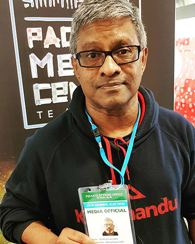 AUT Pacific Media Centre's Sri Krishmamurthi arrived in Fiji today to report the elections with the Wansolwara team at the University of the South Pacific. Image: David Robie/PMC