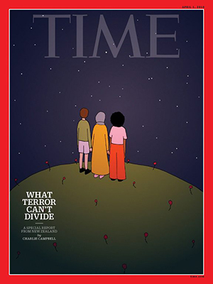The April cover of Time magazine by New Zealand artist Ruby Jones. Image: Time Magazine