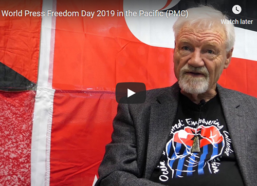 Pacific Media Centre director Professor David Robie's message on World Press Freedom Day. Image: PMC screenshot from Sri Krishnamurthi's video