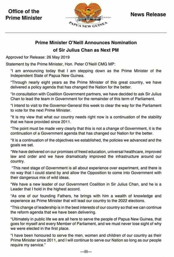 PM O'Neill statement