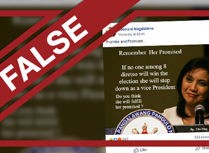 Fake news' row over Robredo's 'step down' promise on Philippine ...