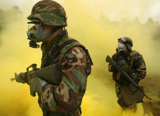 Gas mask soldiers
