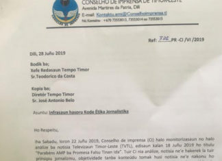 Timor-Leste Press Council letter