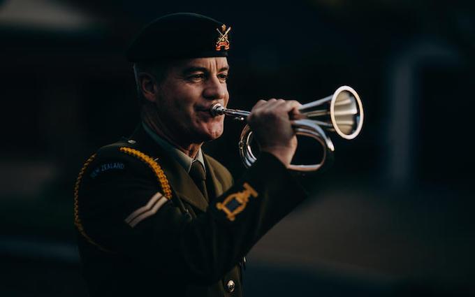 Playing the bugle
