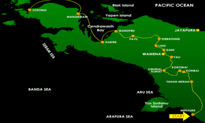 Trans-Papuan Highway map