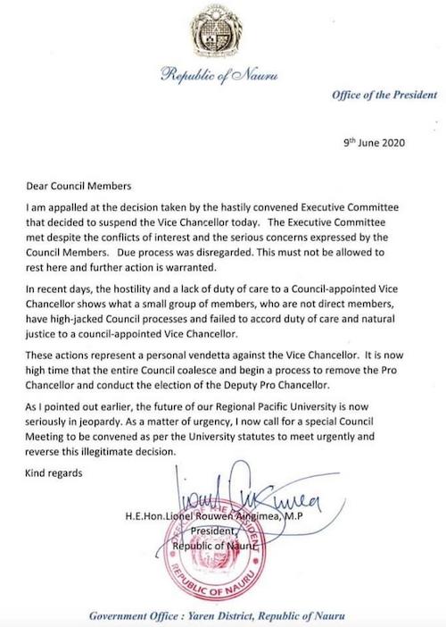 Nauru president's USP letter
