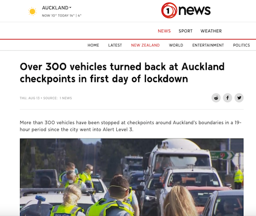 Auckland vehicles turned back